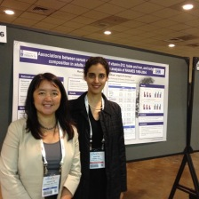 Dr. Maryam S Hamidi, Scientific Associate at the Osteoporosis Program with Dr. Cheung, next to her poster describing her findings on the relationship between Vitamin B12, folate, and iron and body composition.