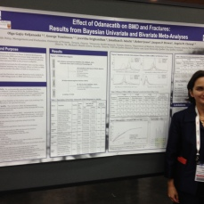 Dr. Olga Gajic-Veljanoski, researcher at the Osteoporosis Program, next to her poster on using a particular statistical method to determine whether the drug Odanacatib can prevent fractures and reduce bone loss.
