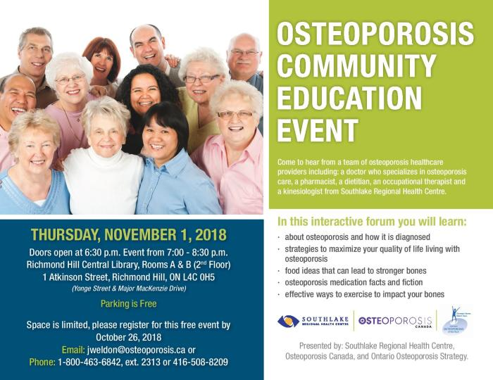 Richmond Hill Osteoporosis Education Event 2018
